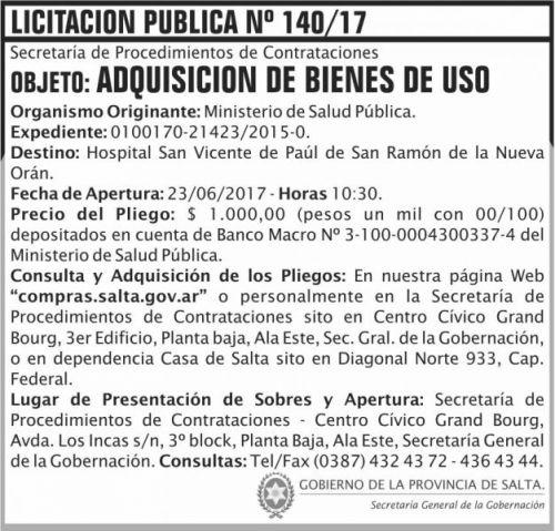 Licitación: Licitacion Publica 140 SGG MSP
