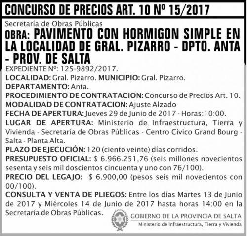 Concurso de Precios: Concurso de Precios ART 10 Nº 15 MITH