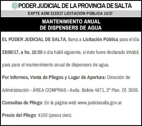 Licitación: Licitación Pública 14/17 - PODER JUDICIAL SALTA  - EXPTE ADM 3133/17