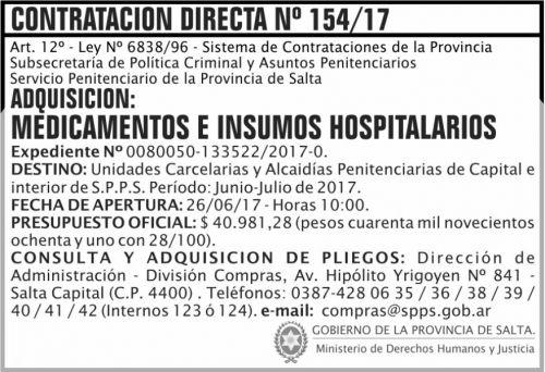 Licitación: Contratacion Directa 154 SPPS MDHJ