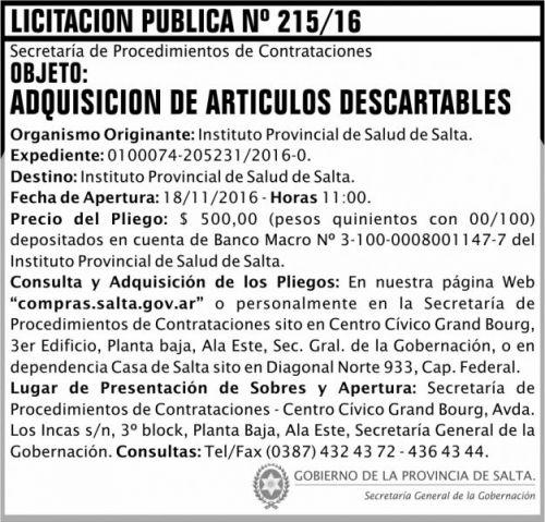 Licitación: Licitación Pública Nº 215/16