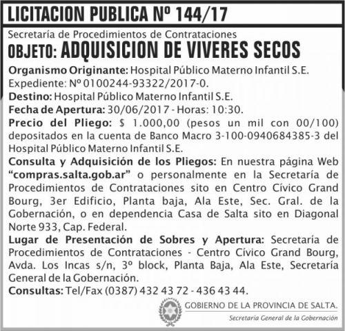 Licitación: Licitacion Publica 144 SGG HPMI