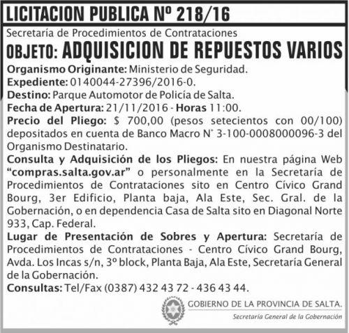 Licitación: Licitación Pública Nº 218/16