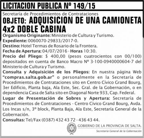 Licitación: Licitacion Publica 149 SGG MCT
