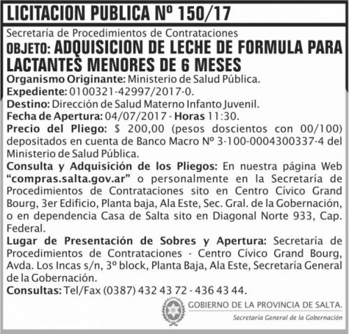 Licitación: Licitacion Publica 150 SGG MSP
