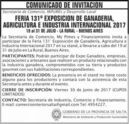 Edictos / Comunicados: Comunicado INVITACION feria Ganadera 2017 MAPS