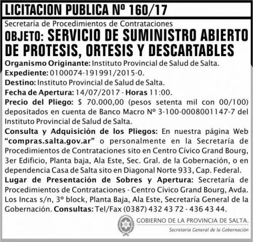 Licitación: Licitacion Publica 160 SGG IPS