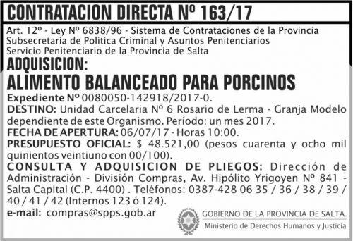 Compra Directa: Contratacion Directa 163 SPPS MDHJ