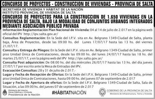 Concurso de Precios: Concurso de Proyectos 1650 Viviendas IPV MITV