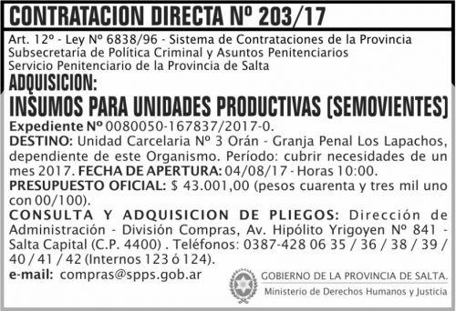 Compra Directa: Contratacion Directa 203 SPPS MDHJ