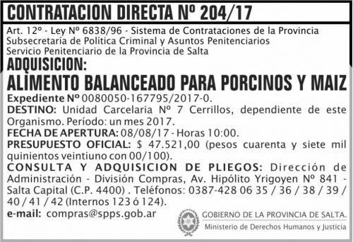 Compra Directa: Contratacion Directa 204 SPPS MDHJ