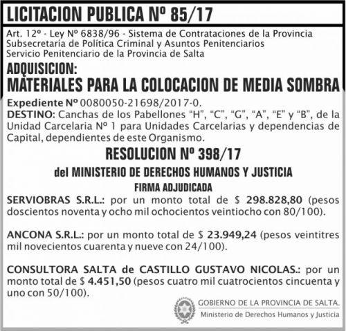 Licitación: Licitacion Publica 85 Adjudicacion SPPS MDHJ