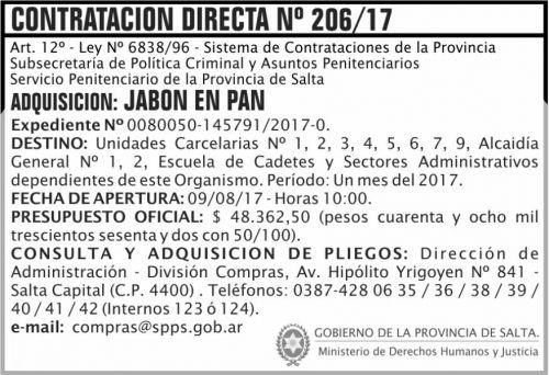 Compra Directa: Contratacion Directa 206 SPPS MDHJ