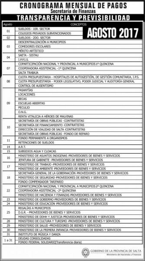 Edictos / Comunicados: Cronograma de pagos AGOSTO 2017