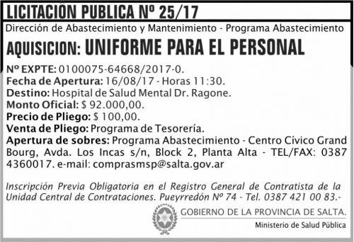 Licitación: Licitacion Publica 25 MSP