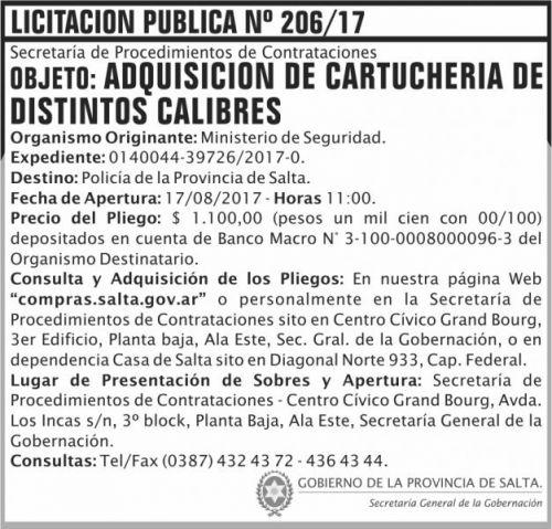 Licitación: Licitacion Publica 206 SGG MS