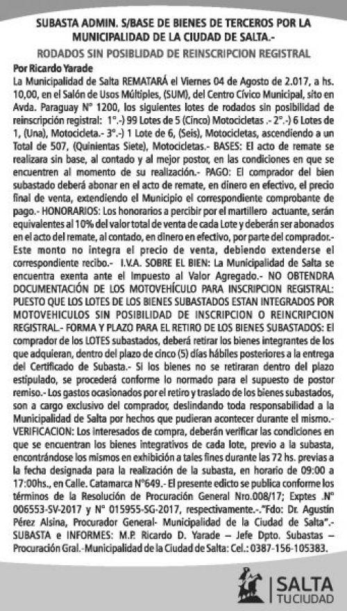 Edictos / Comunicados: Subasta Bienes de Terceros - Municipalidad de Salta