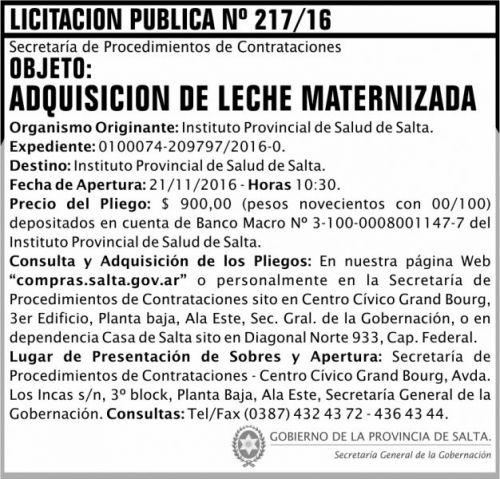 Licitación: Licitación Pública Nº 217/16