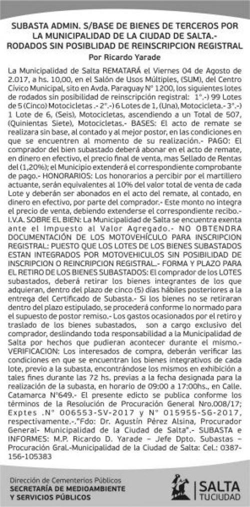 Edictos / Comunicados: Edicto - Subasta Bienes de Terceros - Municipalidad de Salta