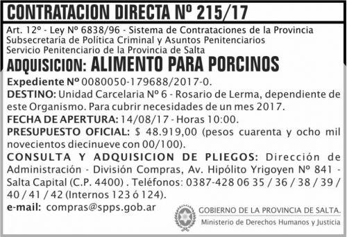 Compra Directa: Contratacion Directa 215 SPPS MDHJ