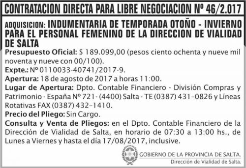 Compra Directa: Contratacion directa Libre Negociacion 46 DVS