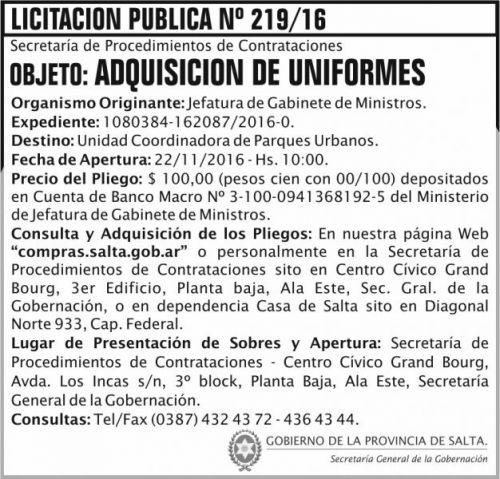 Licitación: Licitación Pública Nº 219/16