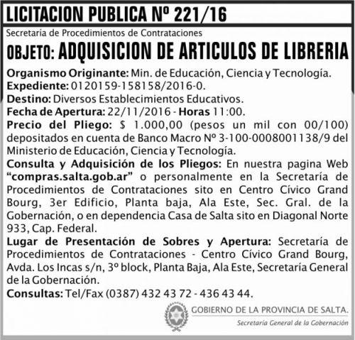 Licitación: Licitación Pública Nº 221/16