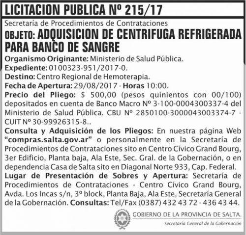 Licitación: Licitacion Publica 215 SGG MSP