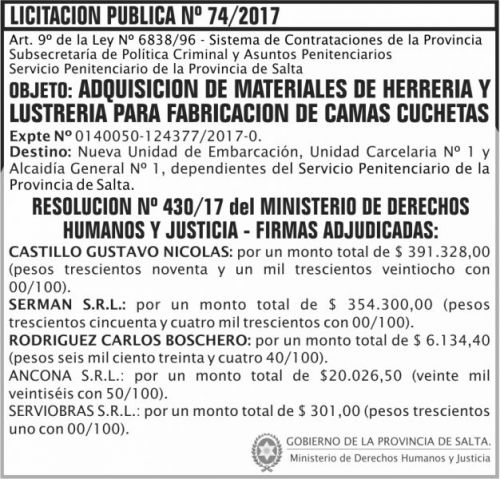 Licitación: Licitacion Publica Adjudicada 74 SPPS MDHJ