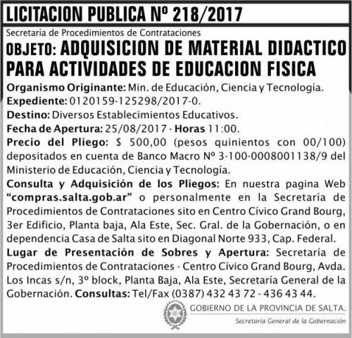 Licitación: Licitacion Publica 218 SGG MECT