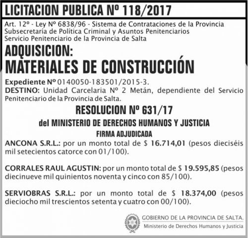 Licitación: Licitacion Publica 118 Adjudicacion SPPS