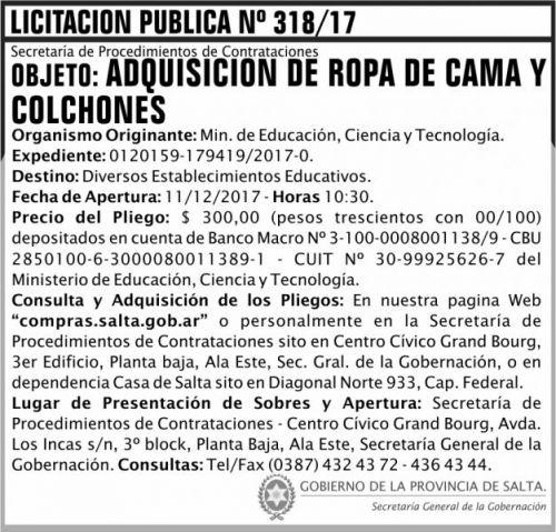 Licitación: Licitacion Publica 318 SGG