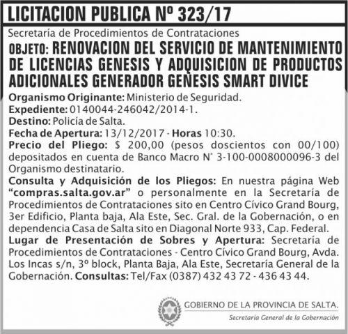 Licitación: Licitacion Publica 323 SGG MS