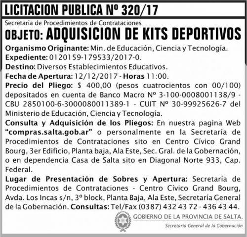 Licitación: Licitacion Publica 321 SGG MECT