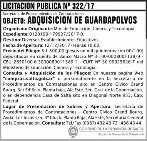 Licitación: Licitacion Publica 322 SGG MECT