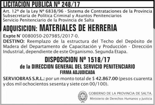 Licitación: Licitacion Publica Adjudicada 248 SPPS
