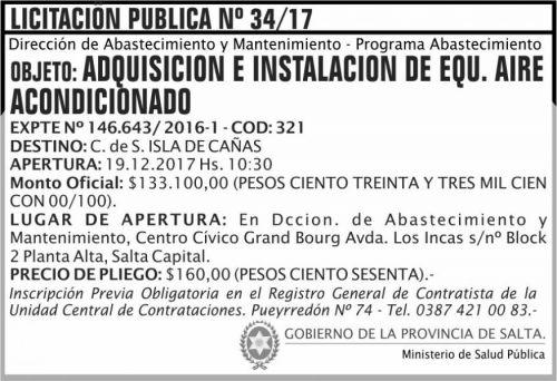 Licitación: Licitacion Publica 34 MSP