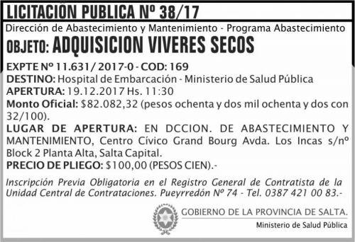 Licitación: Licitacion Publica 38 MSP