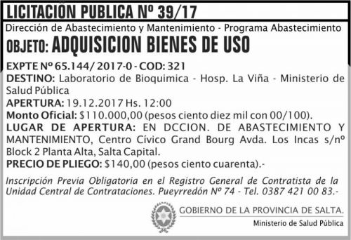 Licitación: Licitacion Publica 39 MSP