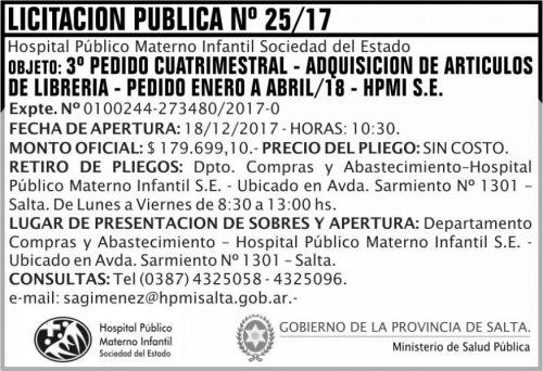 Licitación: Licitacion Publica 25 MSP HPMI
