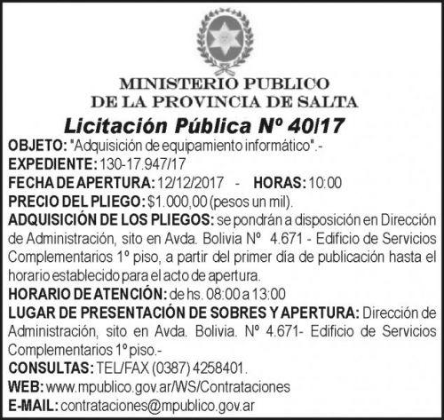 Licitación: MINISTERIO PUBLICO