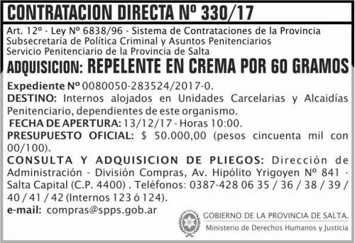 Licitación: Contratacion Directa 330 SPPS MDHJ