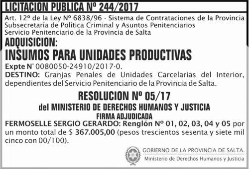 Licitación: Licitacion Publica Adjudicada 244 SPPS