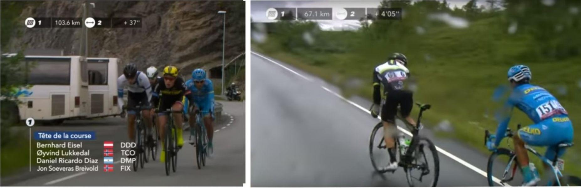 Imagen de la TV Eurosports, donde el salteño Daniel Díaz (151) fue gran protagonista durante 100 km en rutas de Noruega