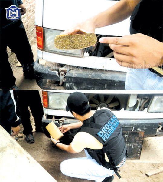 La droga secuestrada estaba acondicionada en el interior del paragolpes de una camioneta.