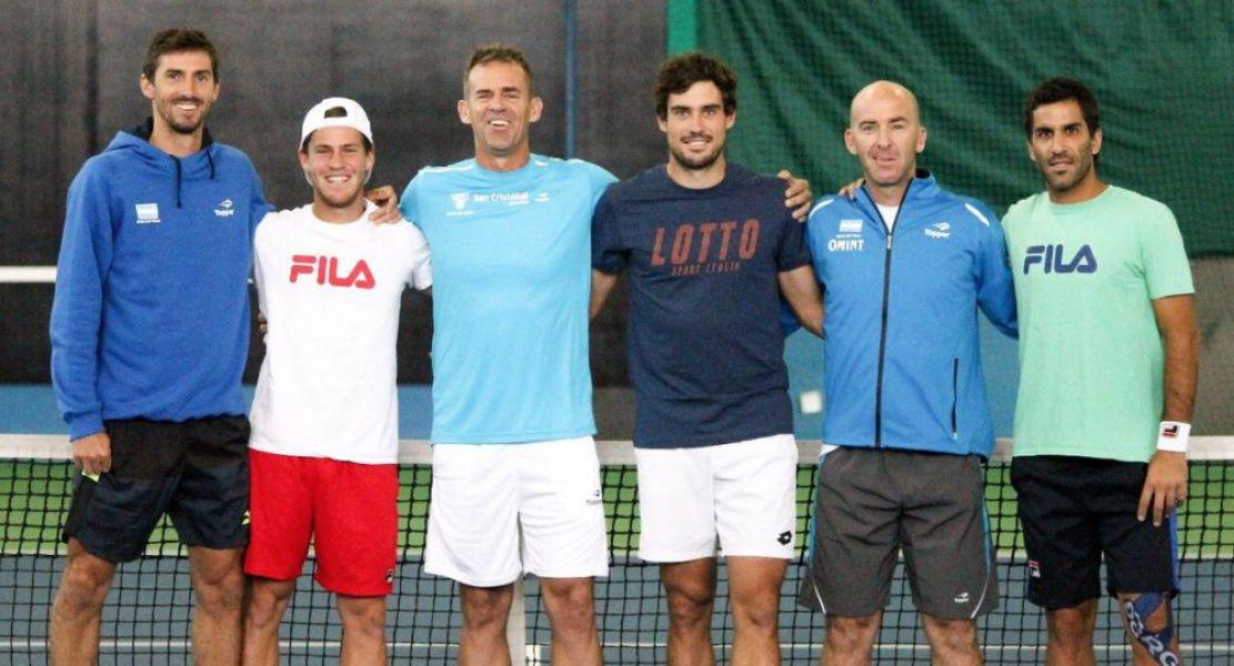 El equipo argentino de Copa Davis, que buscará en Kazajistán la permanencia en el cìrculo mayor de la Copa Davis.