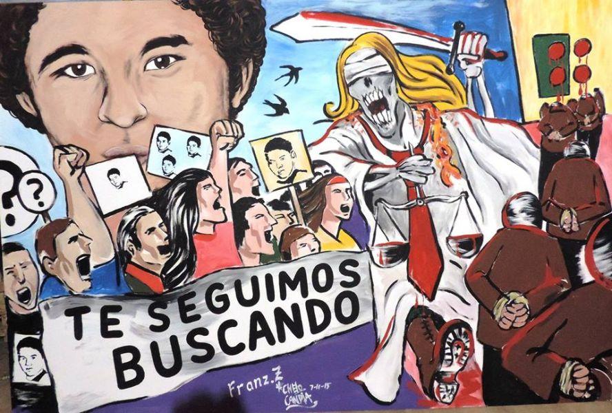 Mural, parte de la campaña en busca de Daniel Solano, desaparecido desde 2011.