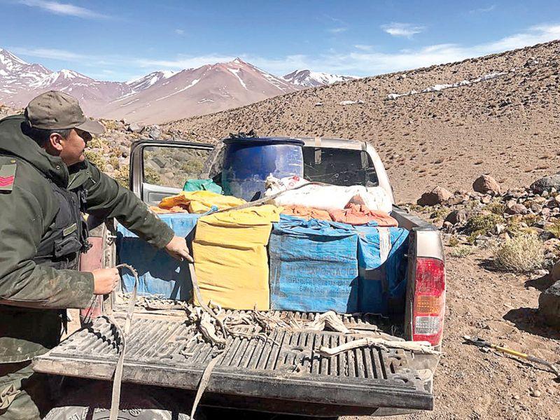 la marihuana fue hallada cerca del volcán Aracar.