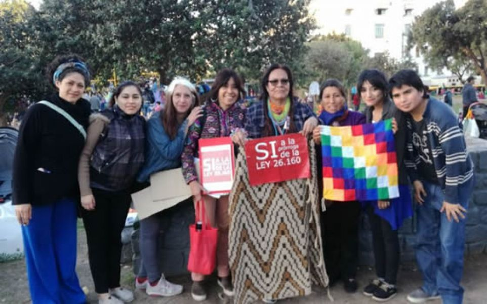 Octorina Zamora (centro), una de las referentes salteñas que resiste en el acampe frente al Congreso de la Nación.