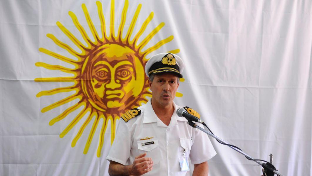 """Enrique Balbi, vocero de la Marina. La """"anomalía hidroacústica"""" fue detectada el mismo miércoles 15 de noviembre, detectada por EE.UU."""
